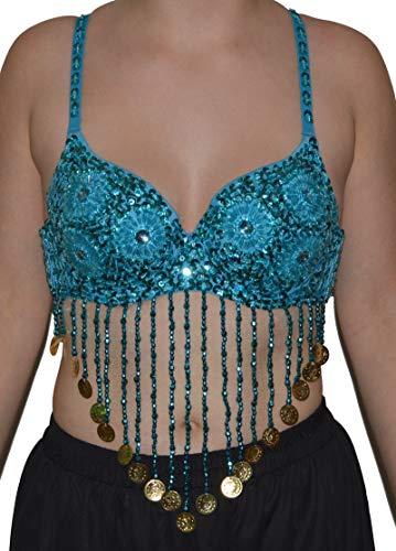 Bauchtanz BH Oberteil Top Belly Dance Perlen Pailletten Karneval Oriental Tanz (Türkis) (Oriental Belly Dance)