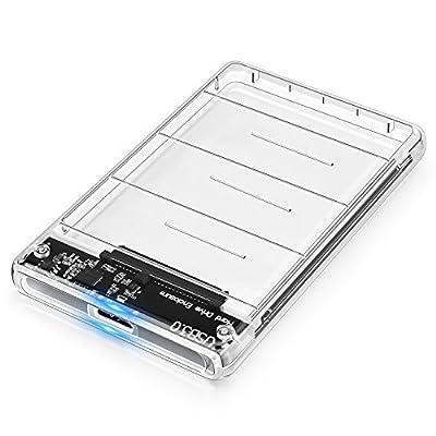 Boîtier Disque Dur, POSUGEAR USB 3.0 Boîtier Externe pour Disque Dur Externe 2.5'' SATA HDD SSD (7mm à 9.5mm), Haute Vitesse à 5Gbps, sans Outil, UASP Compatible (Transparente) de POSUGEAR - Adaptateurs et boîtiers pour disque dur