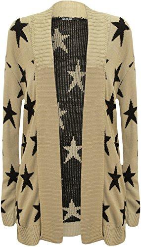 WearAll - Motif en étoile Imprimer Haut à manches longues Open féminin - Pullover - Femmes - Tailles 36 à 42 Pierre