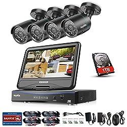 SANNCE 4CH 720P HD Kit de vidéosurveillance avec LCD Ecran Moniteur 10,1 Intégré +4 * 1MP Caméra Système Surveillance Jour/Nuit Haute Résolution P2P,Disque Dur de 1TB