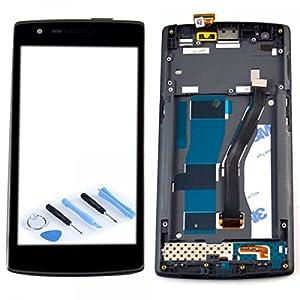 Display LCD Komplett Einheit mit Rahmen für ONEPLUS One 1+ A0001 Reparatur Schwarz + Werkzeug Opening Tool