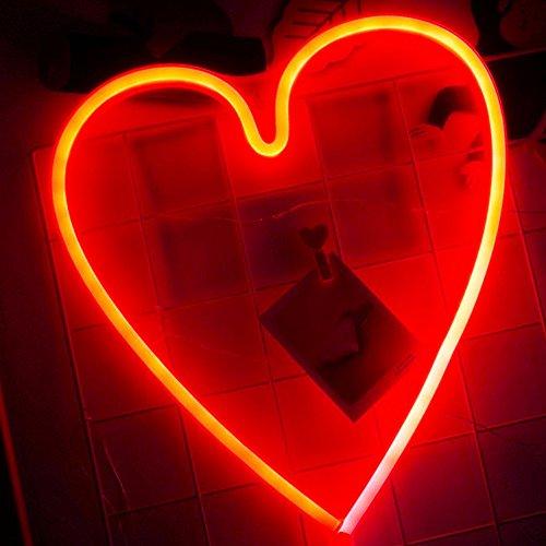 Herz Leuchtreklamen LED Decor Nachtlicht Wand Dekor Weihnachtsdekoration Geburtstag Party Startseite LED dekorative Lichter Hochzeit Event Bankett Party Decor, Batterie und USB Power (rot)