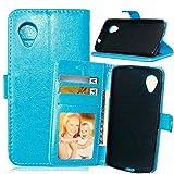 JDDRCASE Handy Zubehör Hüllen, Solid Color Premium-PU-Leder-Mappen-Magnetic Buckle Design-Flip Folio Case Schutzhülle Einbau-9-Karten-Slots und Ständer für Nokia Lumia 930 (Farbe : Blau)