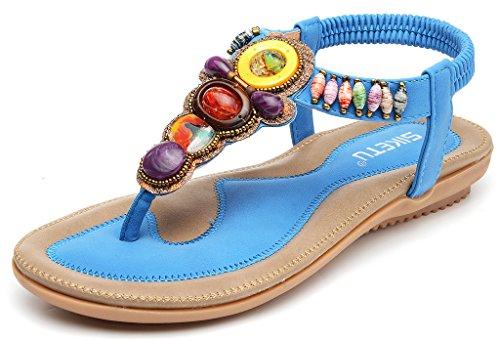 Odema estate delle donne della Boemia della pietra preziosa strass Boho Beach Flip Flops Elastico T-strap Sandali piatti Blu