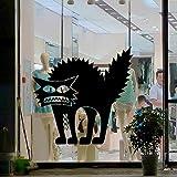 Halloween Thriller Katze Creative Mall Shop Bar Nachtclub Hintergrund Dekoration selbstklebender Wandaufkleber 42x41cm