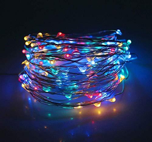 Solar 8 funktion 100LED kupfer linie lichter garten Weihnachten im freien wasserdicht urlaub dekoration reis lichterketten B - Linie Blau Licht Eine Rock