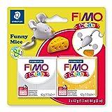 Staedtler FIMO Kids, Assortiment de 2 pains de pâte à modeler durcissant au four pour les enfants, Extrêmement souple et malléable, Deux pains de 42 grammes spécial souris sous blister, 8035 11