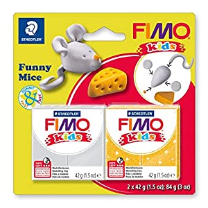 STAEDTLER 8035 11. Pasta de modelar para niños Fimo Kids Funny Mice. 2 Pastillas de 42 Gramos.