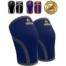 Rodilleras de mangas (1 Par) - SPARTAN STRENGTH - 7mm de Neopreno - Rodilleras de Compresión Multiusos - Perfectas para CrossFit, Levantamiento de Peso, Running y cualquier otro Deporte