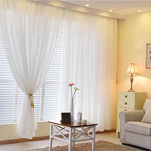 LCLrute 1 STÜCKE Reine Farbe Tüll Türfenstervorhang Drapieren Steuerung Sheer Schal Volants (Weiß) (Gardinenstange 28x48)