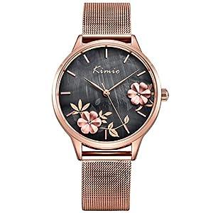 Alienwork Damen-Armbanduhr Perlmutt-Zifferblatt mit Metall Mesh Armband