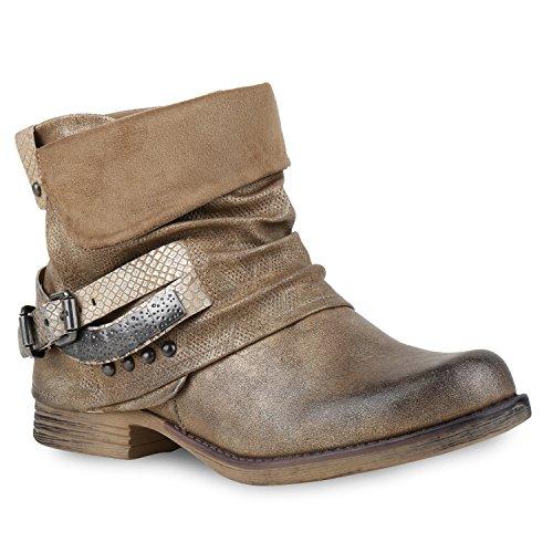 Stiefelparadies Damen Biker Boots Used Look Metallic Stiefeletten Nieten Schuhe 132457 Gold Nieten 40 Flandell