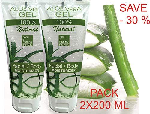 100% Rein natürlich Konzentrat: Aloe Vera Gel Gesicht, Haare & Körper 2X200 ml - Sonnenbrand, Hautausschlag, Käfer- oder Insektenstiche, trockene und beschädigte alternde Haut, Rasurbrand Akne -