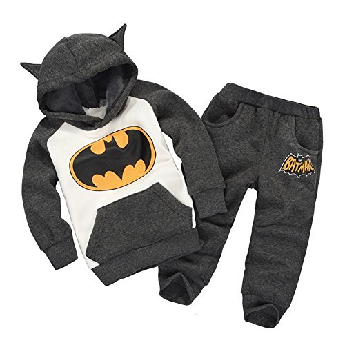 Vogholic Unisex Kinder Nette Karikatur Bat Fleece Pullover Hoodie + -Hosen B110Cm (Check Anzug Hose)