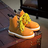 Top Shishang Autumn and winter leather boys and girls shoes in the patent leather belt with Martin boots,camel,34