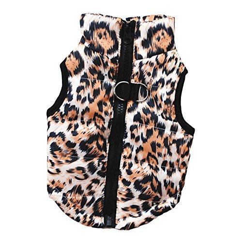 (CricTeQleap Haustier Kleidung Katze Hund Winter Herbst niedlich dauerhafte Leopard Skull Camouflage Bekleidung Weste Coffee L)