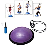 Baumarktplus Yoga Gymnastik Balance Half Ball lila Trainingsball Fitnessball ø 60cm Balance Trainer mit Zugbändern und Pumpe, beidseitig nutzbar