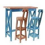 MagiDeal Puppenhaus Miniaturmöbel - Bar Tisch mit Stuhl aus Holz - Puppenzubehör für 1/4 BJD Boy and Girl Puppe - Blau