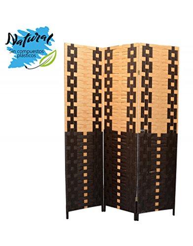Biombo Seaparador de ambientes, Bambú Natural y Papel Trenzado Negro/