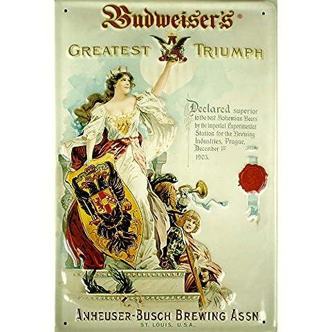 Budweiser Triumph Targa latta metallo Tin Sign 20 x 30 cm