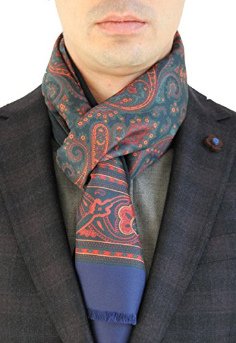 B.koin - Echarpe - Imprimé Cachemire - Homme taille unique Rot-Dunkelblau