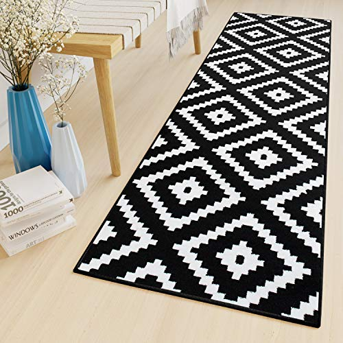 r Flur Küche Korridor Kurzflor Teppich Brücke Designer Schwarz Weiss Karo Marokkanisch Geometrisch Muster ÖKOTEX 100 x 200 cm ()
