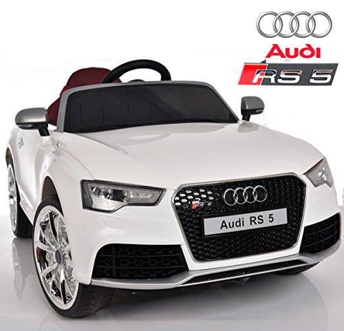 Audi RS5 de Babycoches,Licencia Oficial, 12 V, Mando Parental, Neumaticos Caucho, Asiento Ergonomico, Color Blanco