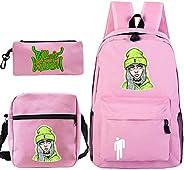 3pcs Cute Billie Eilish School Backpack Laptop Daypack Lunch Bag Pencil Case Boys Girls School Bags Pen Book D
