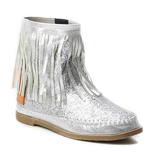 Stiefel Schlupfstiefel Gold Silber Fransen Mokassin Ibiza Indianer Western-Style Boho Stiefeletten Glitzer Glitter Glanz Metallic (40 EU, Silver) ()