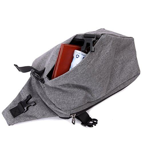 Eshow Borsa da uomo di nylon con risvolto a tracolla da spalla multiuso per uso quotidiano grigio