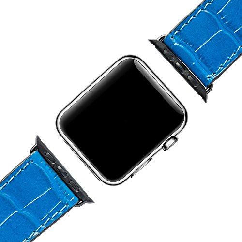 Milano Leder-armband (GOLDBLACK Premium Designer Apple Watch Armband Kroko 42mm [ECHT LEDER] 1 Jahr Garantie (Schwarz) (Blau))
