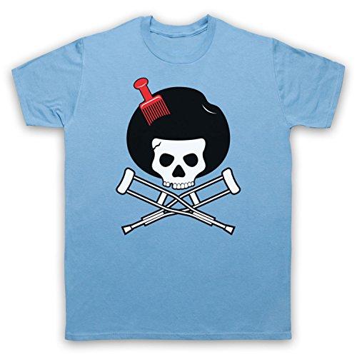 Inspiriert durch Jackass Skull & Crossbones Logo Afro Pick Unofficial Herren T-Shirt Hellblau