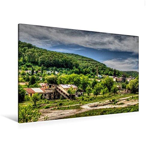 Premium Textil-Leinwand 120 cm x 80 cm quer, Stahlwerksgelände | Wandbild, Bild auf Keilrahmen, Fertigbild auf echter Leinwand, Leinwanddruck (CALVENDO Orte)