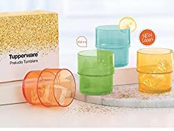Tupperware Preludio Tumbler Green and Blue Pack of 4