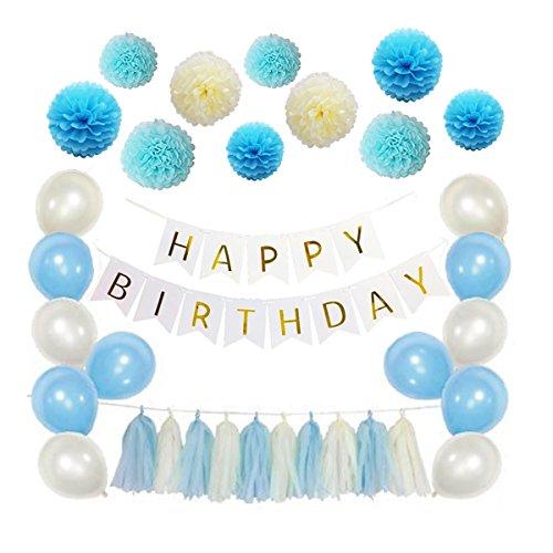 Amosfun 51 Pcs Tissue Paper Flowers Pom Poms Tassels DIY Paper Garland Balloons Kit for Birthday Wedding Party Decoration (Blue Series)