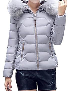 Yeesea Mujer Casual Con Capucha Peluda Acolchado Corta Parka Invierno Abrigos Outwear Jacket