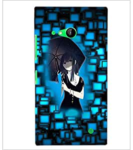 PrintDhaba Umbrella Girl D-3542 Back Case Cover for NOKIA LUMIA 730 (Multi-Coloured)