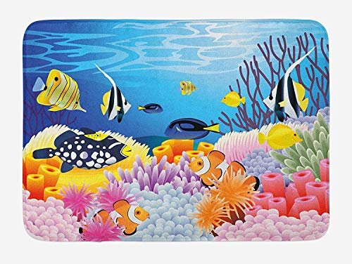 HLKPE Fish Bath Mat, Water Life with Different Kind of Fishes Coral Reefs and Sponges Kids Nursery Theme, Plush Bathroom Decor Mat with Non Slip Backing, 23.6 W X 15.7 L Inches, Multicolor - Home Essentials Reef