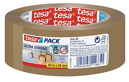 tesa Ultra Strong Packband (aus PVC mit besonders starker Klebekraft, 66 m x 38 mm) braun