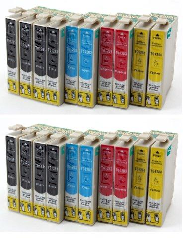 Preisvergleich Produktbild 20 Tintenpatronen mit CHIP, kompatibel zu Epson T1281/82/83/84 (8x schwarz & je 4x C/M/Y) für Epson Stylus Office BX 305F / BX 305FW / Stylus S 22 / Stylus SX 125 / Stylus SX 420W / Stylus SX 435W / Stylus SX 425W