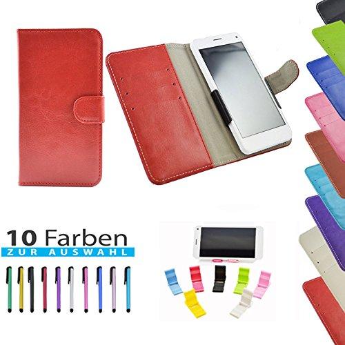 5 in 1 set Slide Tasche Hülle Case Cover Schutz Cover Etui Rot für Haier Phone L52