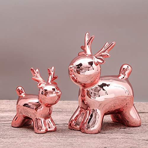 Valery madelyn decorazione natalizia di ceramica 2 pezzi figurina di natale di alce, addobbi e decorazioni natalizi statuetta, regali di natale, christmas decoration 14/10cm