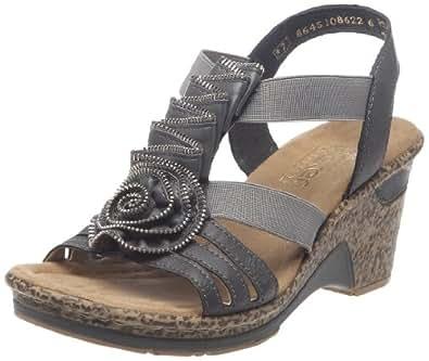 rieker roberta 60641 damen sandalen grau dust 36 eu schuhe handtaschen. Black Bedroom Furniture Sets. Home Design Ideas