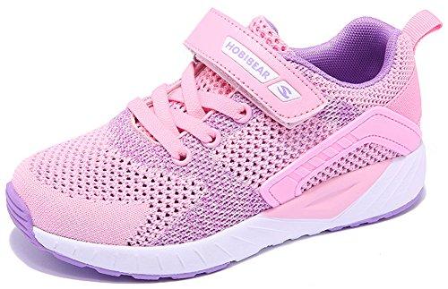 SEECEE Kinder Mädchen Turnschuhe Sneaker Klettverschluss Sommer Sportschuhe Laufschuhe Atmungsaktiv Fitnessschuhe Rutschfest Freizeit Schuhe Rosa 28 EU (Rosa Leder Sportschuhe)