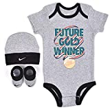 Nike Infant Babys 3-Piece Bodysuit, Hat & Booties Set (0-6 Months, Dark Grey Heather(NIK036-042)/White/Red)