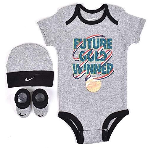 Nike Infant Babys 3-Piece Bodysuit, Hat & Booties Set (0-6 Months, Dark Grey Heather(NIK036-042)/White/Red) -