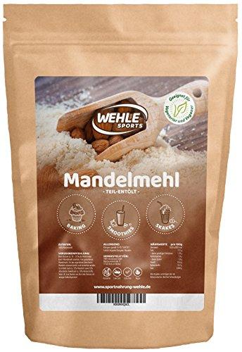 Mandelmehl 1kg teil-entölt - Mandelprotein glutenfreie Weizenmehl-Alternative aus blanchierten Süßmandeln - Wehle Sports (1000g)