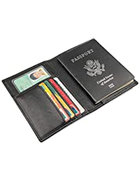b5442fc30 FLYSXP Paquete De Pasaporte De Viaje Bolsa De Documento Bolso De Pasaporte  Paquete De Documento Boleto Clip RFID Billetera de Hombre…