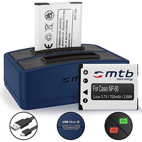 2 Akkus + Dual-Ladegerät (USB) für Casio NP-80 NP-82 / Exilim S5 S6.. / Z1 Z2 Z16.. / ZS5 ZS6.. / N1, N5.. - s. Liste