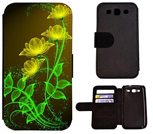 Flip Cover Schutz Hülle Handy Tasche Etui Case für (Apple iPhone 5 / 5s, 1443 Tiger Boot Blau Gelb Abstract) 1444 Blume Abstract Grün Gelb
